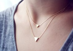 A dainty, geometric necklace.  Available in small and large.  Perfect for layering.    ✚ dainty matte finish triangle: small measures 6mm; large