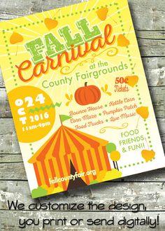 FALL CARNIVAL ~ Harvest Festival ~ Fall Fest ~ 5x7 Invite ~ 8.5x11 Flyer ~ 11x14 Poster ~ 300 dpi Digital Invitation
