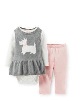 Carters  3-Piece Bodysuit Scottie Dog Sweater and Pant Set