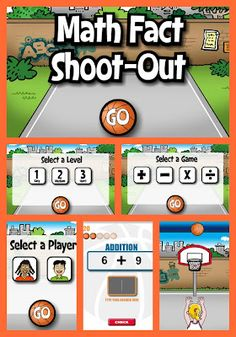 Math Basketball Fun! A free website to practice math facts (add, subtract, multiply, divide) for fun!