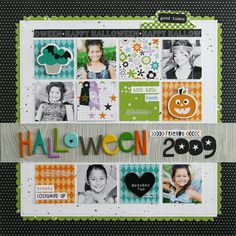 Halloween 2009 - Scrapbook.com - Love how the title strip breaks up the grid of photos and patterned papers. Made with Bella Blvd's Halloween Magic collection.