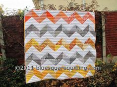 Zig Zag Quilt in Grey Orange and Yellow by bluesquarequilting, $220.00
