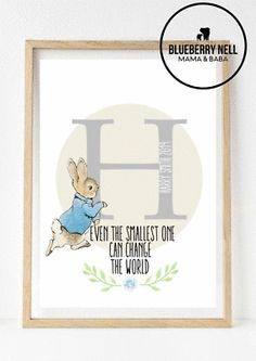 Our prints can be personalised any which way you like. Peter Rabbit, Nursery Prints, Frame, Ebay, Picture Frame, Frames, Kids Prints