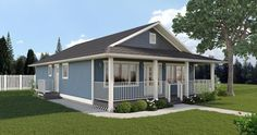 1260 Sq. Ft. Economical Rancher Home w/ Front Porch (HQ Plans & Pictures) | Metal Building Homes