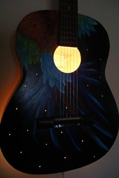 Upcycled Acoustic Guitar Light Musical Instrument Lamp, Recycled Strings