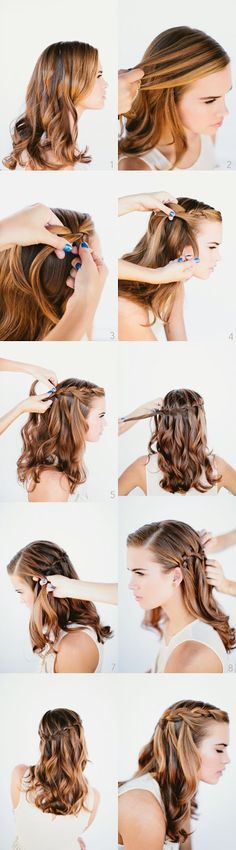 Waterfall Braid Wedding Hairstyles for Long Hair Once Wed Waterfall braid tutorial Pretty Braided Hairstyles, Braided Hairstyles Tutorials, Wedding Hairstyles For Long Hair, Braid Tutorials, Hair Wedding, Gorgeous Hairstyles, Wedding Ponytail, Elegant Hairstyles, Prom Hair