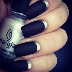 inverted French chrome nails!