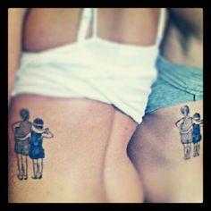 Matching sister tattoos of childhood photo. Killer idea.