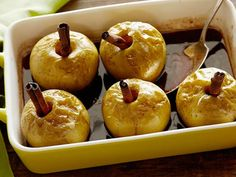 Baked Apples with Rum and Cinnamon Recipe : Alex Guarnaschelli : Food Network (Vegans-just use your vegan substitutions and you are all set. I will make these soon and let you know if I tweeked the receipe. Apple Dessert Recipes, Fruit Recipes, Apple Recipes, Fall Recipes, Baking Recipes, Holiday Recipes, Delicious Desserts, Top Recipes, Baking Ideas