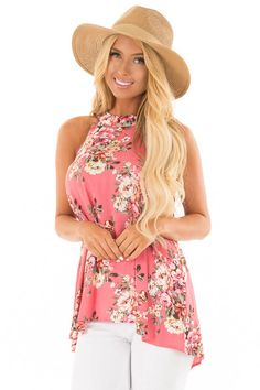 5c0dfdfe4865c Lime Lush Boutique - Punch Pink Floral Print Halter Tank with Keyhole Back