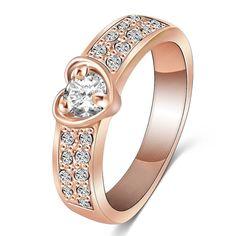 Heart Austian Crystal 18k Rose Gold Platinum Ring  #Unbranded #Ring