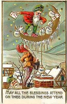 Happy New Year 1908 Gnomes Money Bags Chimney Santa Gold Embossed Postcard Happy New Year 1908 Gnome standing on moon lowers money bags down the chimney while Santa Claus watches. Used Curteich antiqu