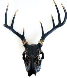 Black Gold Leaf Deer Skull Wall Decor
