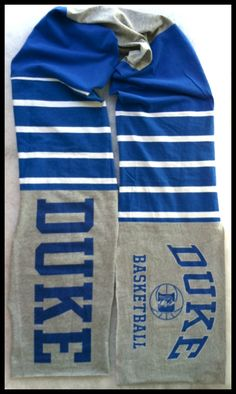 Scarf DUKE University Blue DEVILS Basketball Team Spirit Upcycled Unisex Men's Woman's T-Shirt New Handmade Scarves