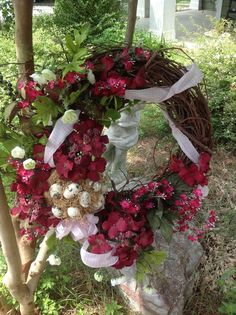 Grapevine Burgandy Hydrangea Wreath by SimpleSouthernSass on Etsy, $58.00