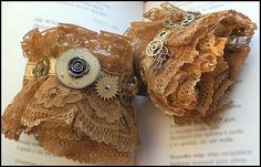 Steampunk Lace Wrist Cuffs with watch gears Neo Victorian gold and brown