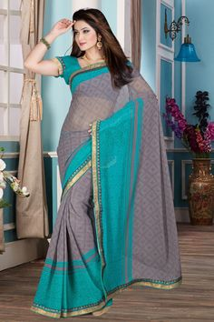 Rama Grey Georgette Saree with Art Silk Blouse New arrival Rama Grey Georgette Saree with Art Silk Blouse and Printed Pallu, Round Neck Blouse, Short Sleeve. This is prefect for party wear, wedding, festival, casual, ceremonial. These designs are presented by Topkart Fashion