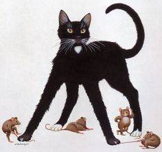 Geoffrey Tristram -- great mice! #cat #art
