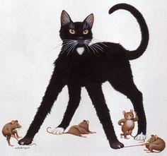 Geoffrey Tristram -- great mice! #cat #art