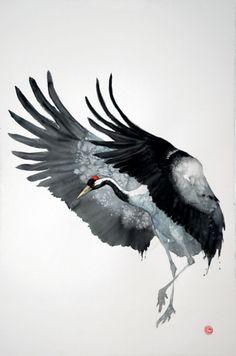 Japanese Watercolor, Watercolor Bird, Watercolor Paintings, Watercolors, Japanese Crane, Japanese Art, Karl Martens, Crane Drawing, Fuerza Natural