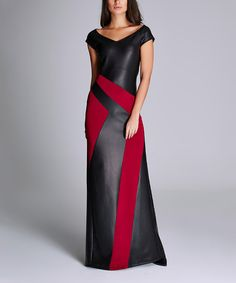 Laranor Black & Red Abstract Faux Leather V-Neck Gown   zulily