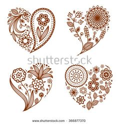 Henna Tattoo Ornamental Hearts. Mehndi Style. Four Floral One-Color Hearts. Smartly Layered. Stock Vector Illustration 366877370 : Shutterstock