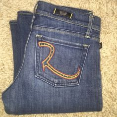 "Rock & Republic jeans Medium blue wash Rock & Republic jeans, style Kasandra. Wear on bottom hems as shown in pics, good condition otherwise. 35"" inseam Rock & Republic Jeans Flare & Wide Leg"