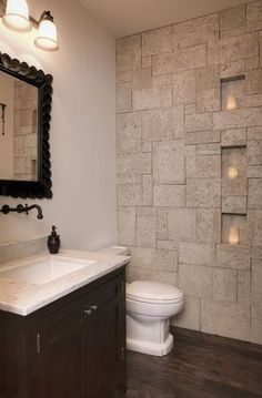 Small Space Eclectic Powder Room with Inset cabinets, Marazzi Montagna Saddle 6 in. x 24 in Glazed Porcelain Floor and Wall Tile, Paint