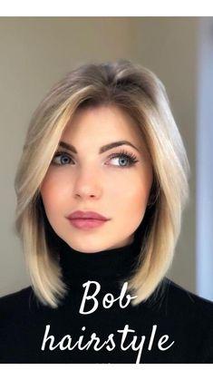 Haircuts For Medium Hair, Medium Short Hair, Medium Hair Cuts, Short Bob Hairstyles, Bob Haircuts, Short Hair Trends, Short Hair Styles, Long Bob Blonde, Corte Y Color
