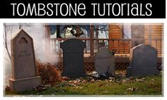 Tutorial for making these tombstones-They make it look easy....plus other fun Halloween decor you can make