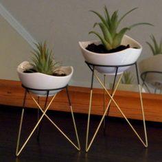 S geometric plant stand with a little white ceramic flower pot   himmeli   elegant geometric terrarium   metal brass soldered