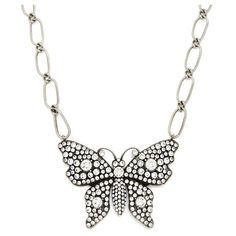 Gucci Butterfly crystal-embellished necklace ($860) ❤ liked on Polyvore featuring tops, crystal, long white top, logo top, gucci top, white top and long length tops