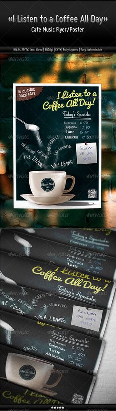 I Listen to a Coffee All Day - Cafe Music Flyer/Poster