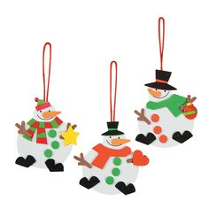 Red, White & Green Snowman Ornament Christmas Craft Kit - OrientalTrading.com