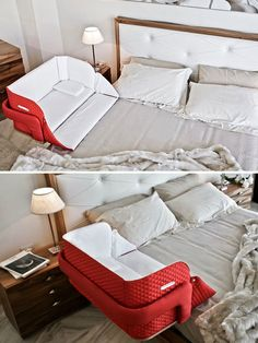 15 Genius Inventions For Kids That Make Parents' Lives Easier Baby Crib Bedding, Baby Bedroom, Baby Room Decor, Baby In Crib, Baby Beds, Bedroom Sets, Baby Inventions, Clever Inventions, Portable Baby Cribs