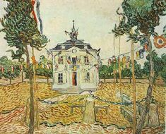 Auvers Town Hall on 14 July 1890 | Vincent Van Gogh | oil painting