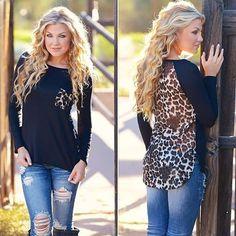 Sexy Leopard Printed Women Long Sleeve Chiffon T-Shirt Tops Blouse Shirt Fashion in Clothing, Shoes & Accessories, Women's Clothing, Tops & Blouses Look Fashion, Fashion Outfits, Womens Fashion, Fashion Trends, Curvy Fashion, Fall Winter Outfits, Autumn Winter Fashion, Shirts & Tops, Casual Shirts