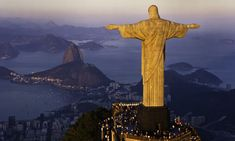 Neat lighting on the Christ the Redeemer statue in Rio de Janeiro, Brazil