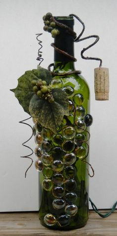 wine bottle lights | Decorative Embellished Wine Bottle Light with Glass Gems, Leaves, and ...