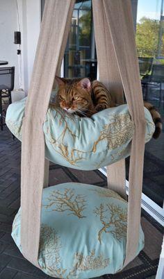 Cats Toys Ideas - Pendaison de niveau 2 chat lit Kitty impression par - Ideal toys for small cats Diy Cat Toys, Toy Diy, I Love Cats, Crazy Cats, Cute Cats, Funny Cats, Diy Jouet Pour Chat, Coral Bedding, Bedding Sets