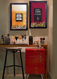 Conexão Décor Frigobar na decoração, cantinho do café, bar e frigobar, http://conexaodecor.com/2017/05/frigobar-na-decoracao/
