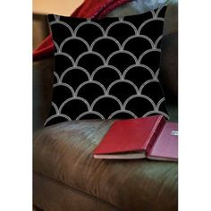 Thumbprintz Art Deco Circles Black and white Indoor Pillow