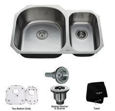 """Kraus KBU23 32"""" Undermount 70/30 Double Bowl 16 Gauge Stainless Steel Kitchen Sink"""