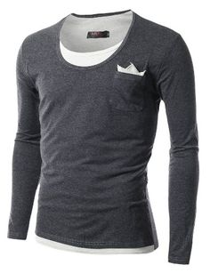 This Casual Oval Neck T-Shirt is modern stylish item. #WX233 Features layered look soft slim fit. Hand wash cold water