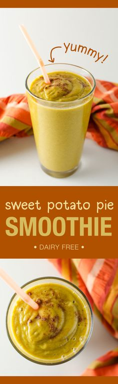 Sweet Potato Pie Smoothie | VeggiePrimer.com  Tastes just like its namesake, yet it's made with healthy plant-based ingredients! #vegan #dairyfree #smoothie