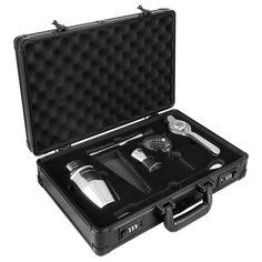 anndora Cocktail Set 7-tlg. Barzubehör Mixer Shaker - Aluminium Koffer Schwarz    Schwarz