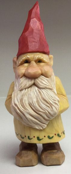 gnome elf Santa Christmas wood carving statue by cjsolberg on Etsy