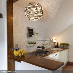 Küche mit DIY Lampe
