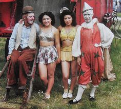 1950s CLOWNS Acrobats Circus Performers Men Women