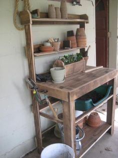 Potting bench | Do It Yourself Home Projects from Ana White would be great for mom and gramma...